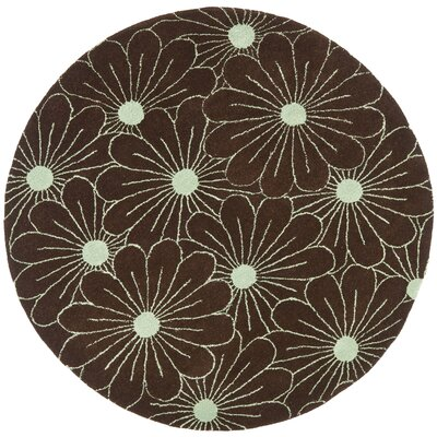Soho Light Brown / Teal Contemporary Rug Rug Size: Round 6