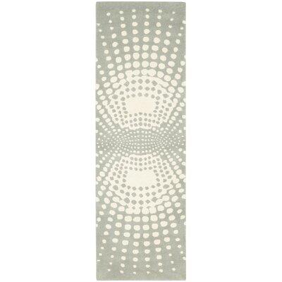 Soho Light Blue / Light Ivory Contemporary Rug Rug Size: Runner 26 x 8