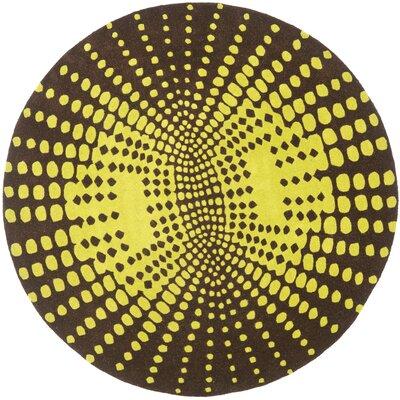 Soho Brown / Dark Green Contemporary Rug Rug Size: Round 6