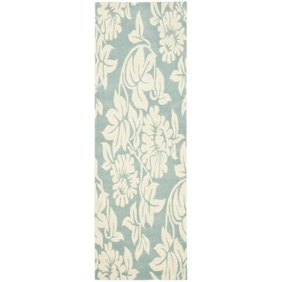 Soho Blue / Ivory Contemporary Rug Rug Size: Runner 26 x 8
