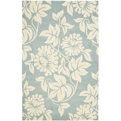 Soho Blue / Ivory Contemporary Rug Rug Size: 5 x 8