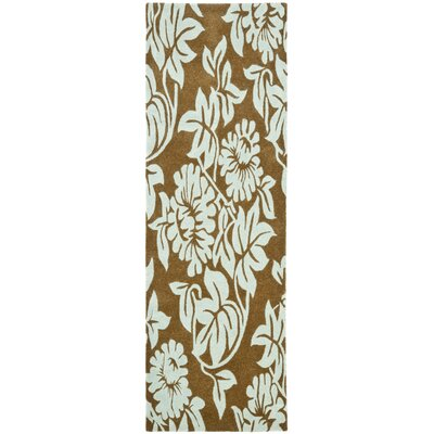 Soho Light Brown / Blue Contemporary Rug Rug Size: Runner 26 x 8