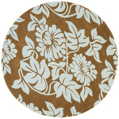 Soho Light Brown / Blue Contemporary Rug Rug Size: Round 6