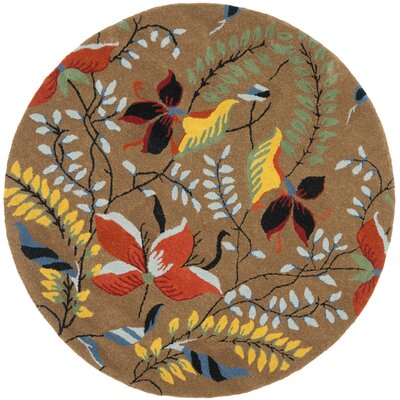 Soho Light Brown / Multi Contemporary Rug Rug Size: Round 6