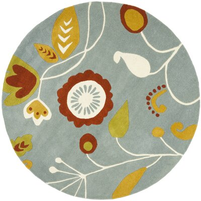 Soho Light Dark Blue / Multi Contemporary Rug Rug Size: Round 6