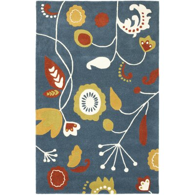 Soho Dark Blue / Multi Contemporary Rug Rug Size: Rectangle 5 x 8