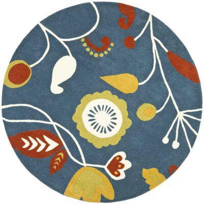 Soho Dark Blue / Multi Contemporary Rug Rug Size: Round 6