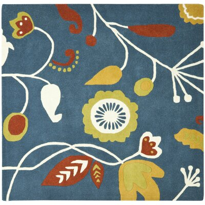 Soho Dark Blue / Multi Contemporary Rug Rug Size: Square 6
