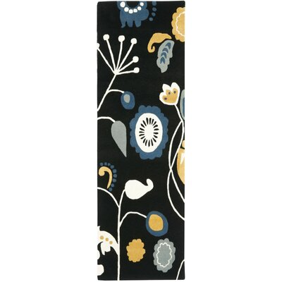 Soho Dark Black / Multi Contemporary Rug Rug Size: Runner 26 x 8