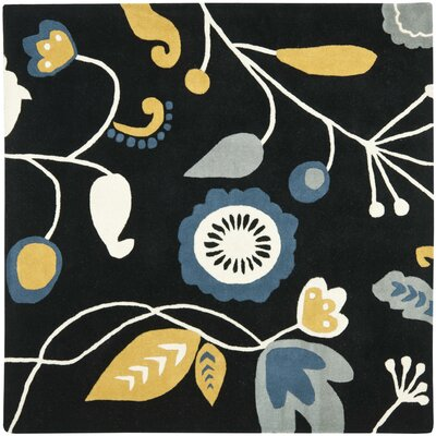 Soho Dark Black / Multi Contemporary Rug Rug Size: Square 6