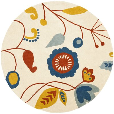 Soho Light Beige / Light Multi Contemporary Rug Rug Size: Round 6