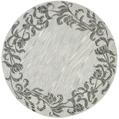 Soho Silver / Grey Contemporary Rug Rug Size: Round 6