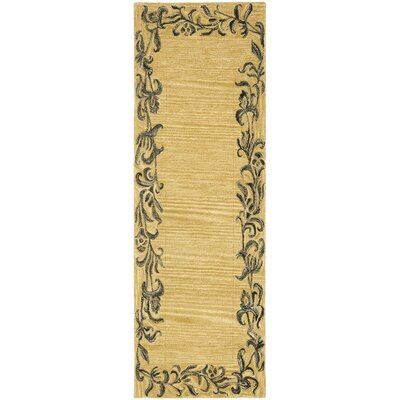 Soho Gold / Black Contemporary Rug Rug Size: Runner 26 x 8