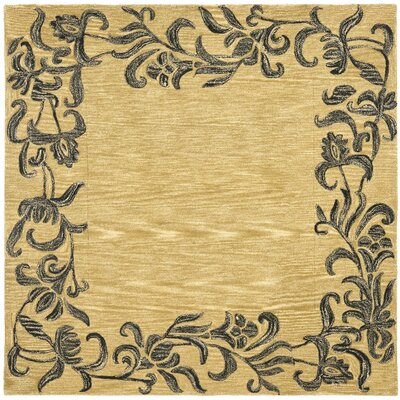 Soho Gold / Black Contemporary Rug Rug Size: Square 6