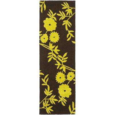 Soho Brown / Green Contemporary Rug Rug Size: Runner 26 x 8