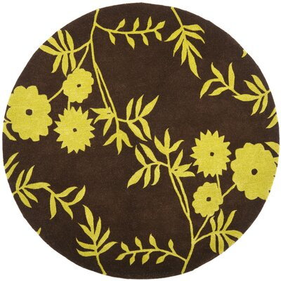 Soho Brown / Green Contemporary Rug Rug Size: Round 6