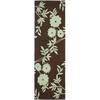 Soho Brown / Teal Contemporary Rug Rug Size: Runner 26 x 8