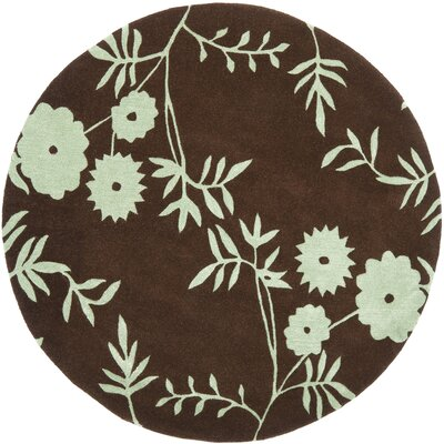 Soho Brown / Teal Contemporary Rug Rug Size: Round 6