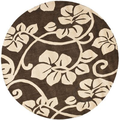 Soho Light Brown / Light Ivory Contemporary Rug Rug Size: Round 6