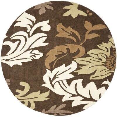 Soho Dark Brown / Light Multi Contemporary Rug Rug Size: Round 6