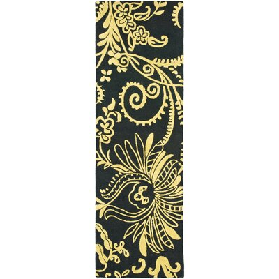 Soho Black / Green Contemporary Rug Rug Size: Runner 26 x 8