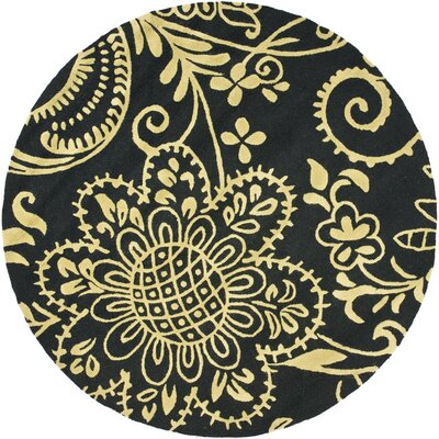 Soho Black / Green Contemporary Rug Rug Size: Round 6