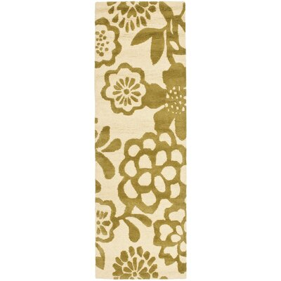 Soho Beige / Green Contemporary Rug Rug Size: Runner 26 x 8