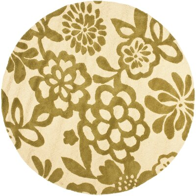 Soho Beige / Green Contemporary Rug Rug Size: Round 6