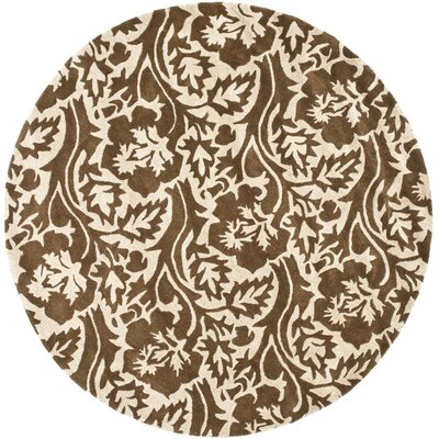Soho Brown / Ivory Contemporary Rug Rug Size: Round 6
