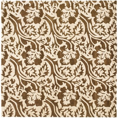 Soho Brown / Ivory Contemporary Rug Rug Size: Square 6