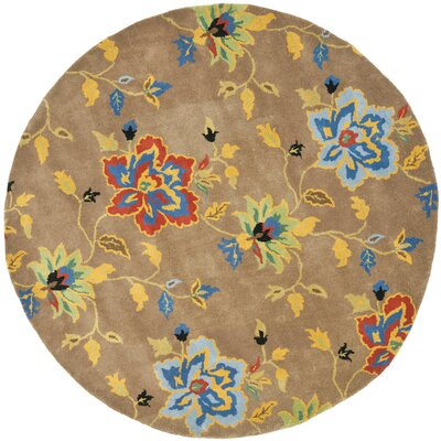 Soho Dark Light Brown / Multi Contemporary Rug Rug Size: Round 6