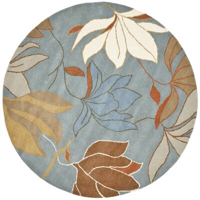 Soho Blue / Dark Light Multi Contemporary Rug Rug Size: Round 6