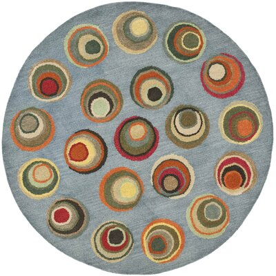 Soho Dark Light Blue / Multi Contemporary Rug Rug Size: Round 6
