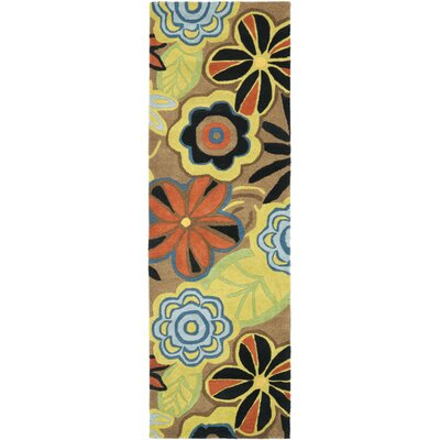 Soho Floral Brown / Multi Contemporary Rug Rug Size: Runner 26 x 8