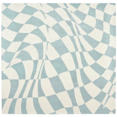 Soho Light Blue / Ivory Contemporary Rug Rug Size: Square 6