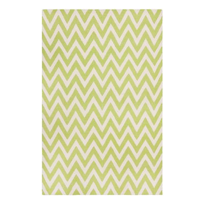 Dhurries Green/Ivory Outdoor Area Rug Rug Size: 9 x 12