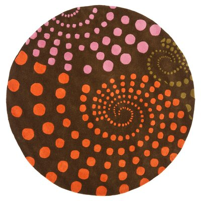 Soho Brown Area Rug Rug Size: Round 6'