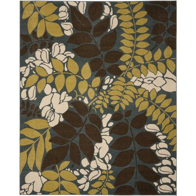 Newport Blue/Brown Area Rug Rug Size: 51 x 76