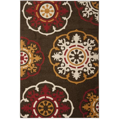 Newport Brown/Red Area Rug Rug Size: 51 x 76