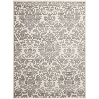 Damasco Grey / Ivory Area Rug Rug Size: Round 6'7