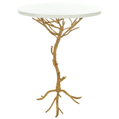 Jason End Table Finish: White / Gold