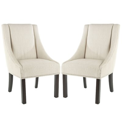 Molly Sloping Arm Chair Upholstery Color: Beige, Leg Color: Weathered Oak