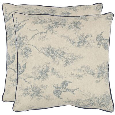 Norah Cotton Toile Throw Pillow Color: Blue