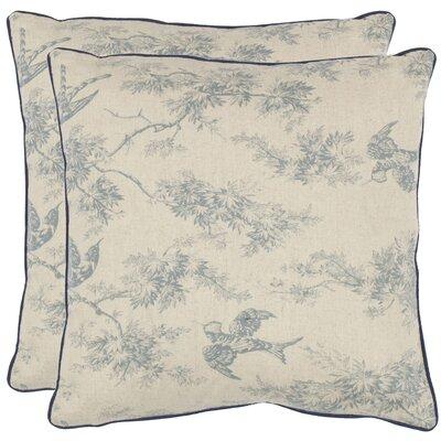 Norah Cotton Toile Throw Pillow Color: Blue