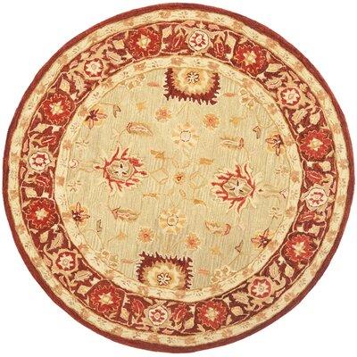 Anatolia Sage/Burgundy Area Rug Rug Size: Round 6'