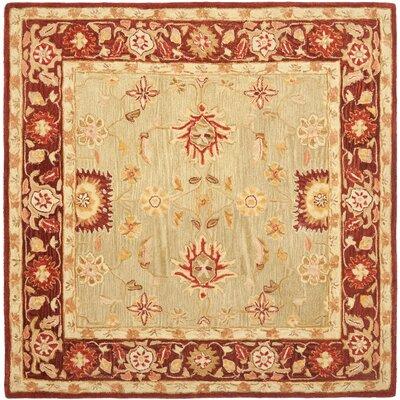 Anatolia Sage/Burgundy Area Rug Rug Size: Square 6'