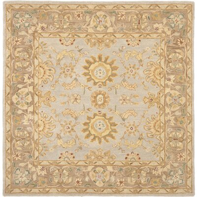 Anatolia Hand-Tufted Teal/Brown Area Rug Rug Size: Square 6