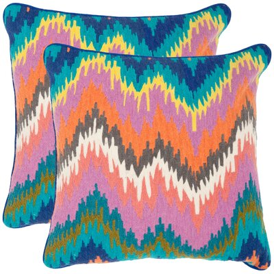 Dripping Stiches Neon Cotton Throw Pillow Size: 20 H x 20 W