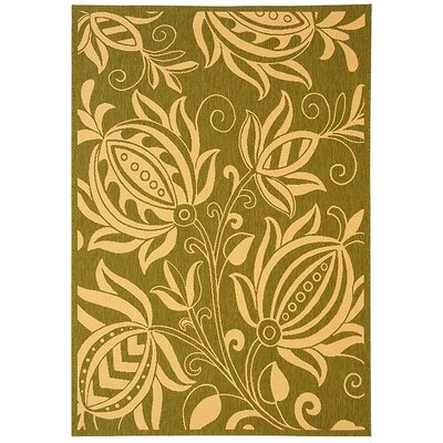 Courtyard Olive / Natural Outdoor Area Rug Rug Size: 2' x 3'7