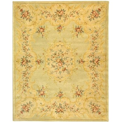 Bergama Light Green/Beige Area Rug Rug Size: 4 x 6
